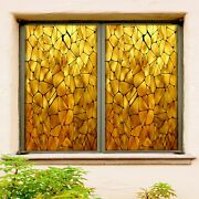 3d Golden Fragments A338 Window Film Print Sticker Cling Stained Glass Uv Zoe