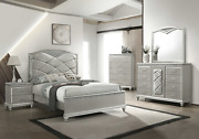 New Champagne Silver Queen King 5pc Bedroom Set Modern Glam Furniture B/d/m/n/c