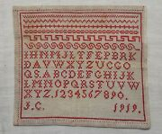 Antique Dutch Sampler Red And White Dated 1919
