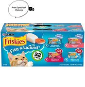 32 Pack Friskies Wet Cat Food Variety Pack Fish-a-licious Shredsfilets 5.5oz