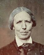 Civil War Era Older Women With Great Face Lines - Tintype 1/6 Plate