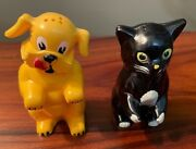 1960's Vintage Salt And Pepper Dog And Cat Shakers And Mini Toaster With Toast