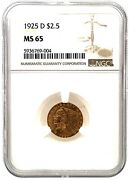 Ngc Ms 65 1925-d 2.50 Dollar United States Indian Head Quarter Eagle Gold Coin