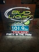 Bud Light Lime Party And The Park 101.9 The Mix Fm Radio Neon Light Up Sign Mib