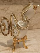 Mothers Day Fabege Egg Trinket Gift Wife Mom Only One Handmde Set Music 24k Gold