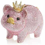 Jay Strongwater Gatsby - Crystal Encrusted Pave Pink Piggy Bank -