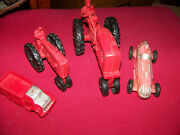 Old 1950s Auburn Toys 4 To Go Race Car 572 Large Tractor Small Tractor Truck