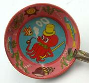 Vintage 1950's Japanese Small Tin Scoop- Comic Red Octopus