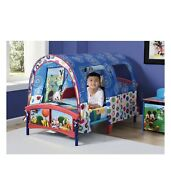 Kids Mickey Mouse Toddler Crib Bed W/ Tent Canopy Plastic Boys Bedroom Furniture