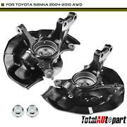 2 Front Sides Wheel Bearing Hub Knuckle Assembly For Toyota Sienna 2004-2010 Awd