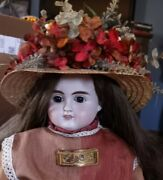 Antique 30-inch Abg 1132 Doll In Antique Dress, Huge Decorated Hat, Hh Wig
