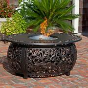 Round Gas Fire Pit Table Outdoor Patio Backyard Propane Fireplace Heater W Cover