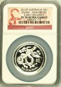 Australia 2013 Silver Year Of The Snake - High Relief Ngc Proof-70 Uc Australian