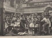 Original Wood Engraving Fish Market In Antwerp - After The Painting From E. Far