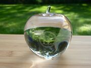 And Co Crystal Apple Paperweight Etched De