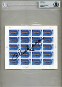 Chuck Yeager Signed Usps 3173 First Supersonic Bell X-1 Stamp Sheet Beckett Bas