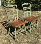 Vintage Pair Of Hitchcock Blue/green Farmhouse Stenciled Chairs Signed C.1960