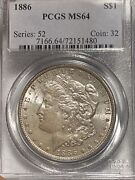 1886-p Morgan Dollar Toned Ms64 Pcgs Older Generation Holder- Superior Luster