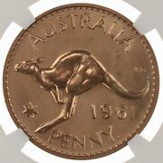 1961 Australia Penny Ngc Certified Pf 66 Rd Proof Struck Red Copper