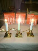Brookstone Electric Brass Window Candles 3 Sets, 3 In Each Box, All Work 9 Total