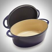 Le Creuset Cassis 4.75 Cast Iron Oval Multi Function Dutch Oven W/ Grill Lid