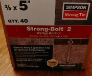Simpson Strong-tie 3/8 X 5 Strong-bolt 2 Wedge Anchors 40ct Stb2-37500r40 New