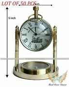 Collectible Maritime Antique Railway Regulator Table Desk Clock With Compass