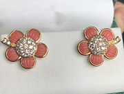Suzanne Somers Sterling 925 Synthetic Coral Flower High Sparkle Cz Clip Earrings