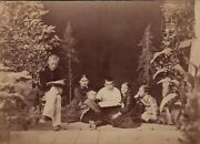 1900s Boys Girls Among Tress And Plants Unusual Arcade Odd Antique Russian Photo