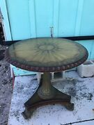 Maitland-smith Carved, Inlayed, And Decorated Occasional Table-bronze Base And Feet