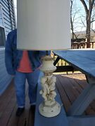 Vintage Cherub Lamp Porcelain And Brass Baseandnbsp3and039 8 Tall Set Of 2