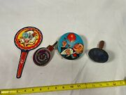Colorful Vintage Lot Of 4 Tin Litho Horn Noise Maker Toys Clown Balloon