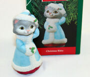 Christmas Kitty 1990 Dressed For Going Places Hallmark Tree Ornament New Blue