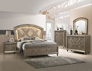 New Champagne Gold Led Queen King 5pc Bedroom Set Modern Furniture Bed/d/m/n/c