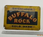 Antique Rare Buffalo Rock Sold Here Embossed Tin Metal Sign Delicious Original