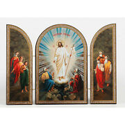 Resurrection Of Christ Wooden Gold Silver Foiled Icon Triptych 7 5/16 X 10 5/8