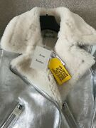 Acne Studios Velocite Slim-fit Shearling And Leather Jacket Deadstock New
