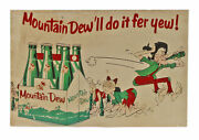 Vintage 1960and039s Mountain Mt Dew Soda Hillbilly Thick Paper Advertising Sign