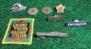 Lot Of Railroad Collectibles Grand Trunk Western Pins Screw Trains Tokens Patch