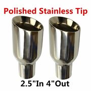 2x 2.5in 4out Polished Stainless Steel Exhaust Tip Duo Layer Slant Cut Sliver