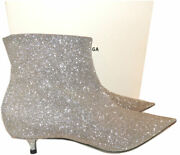 1390 Balenciaga Boots Pointy Toe Knife Silver Glitter Ankle Booties 38.5 Boot
