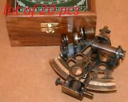 Collectible Vintage Marine Brass German Nautical Working Sextant With Wooden Box