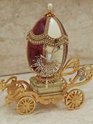 Luxury Mothers Day Gift Mom Wife Faberge Trinket Box Music 24k Gold Natural Egg
