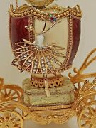 Unique Anniversary Gift For Women Faberge Trinket Box Music 24k Gold Natural Egg