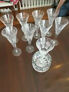 Waterford Crystal Millennium Signed Champagne Toast Flutes 9 And Bottle Coaster