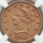 1853/2 Coronet Head Gold Eagle 10 Ngc Au50 - Solid With Luster On Obv And Rev