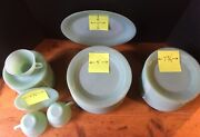 Fire King Jadeitejane Ray Luncheon Plates Salad Plates Tea Cups And Saucers