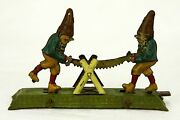 Antique German Mechanical Tin Penny Toy Gnomes Sawing