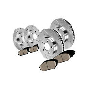 Front Rear Drill Slot Brake Rotors And Ceramic Pads Fits Rx350 Rx450h Sienna
