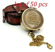 Engraved Brass Compass On Chain With Leather Case Directional Dad Gift